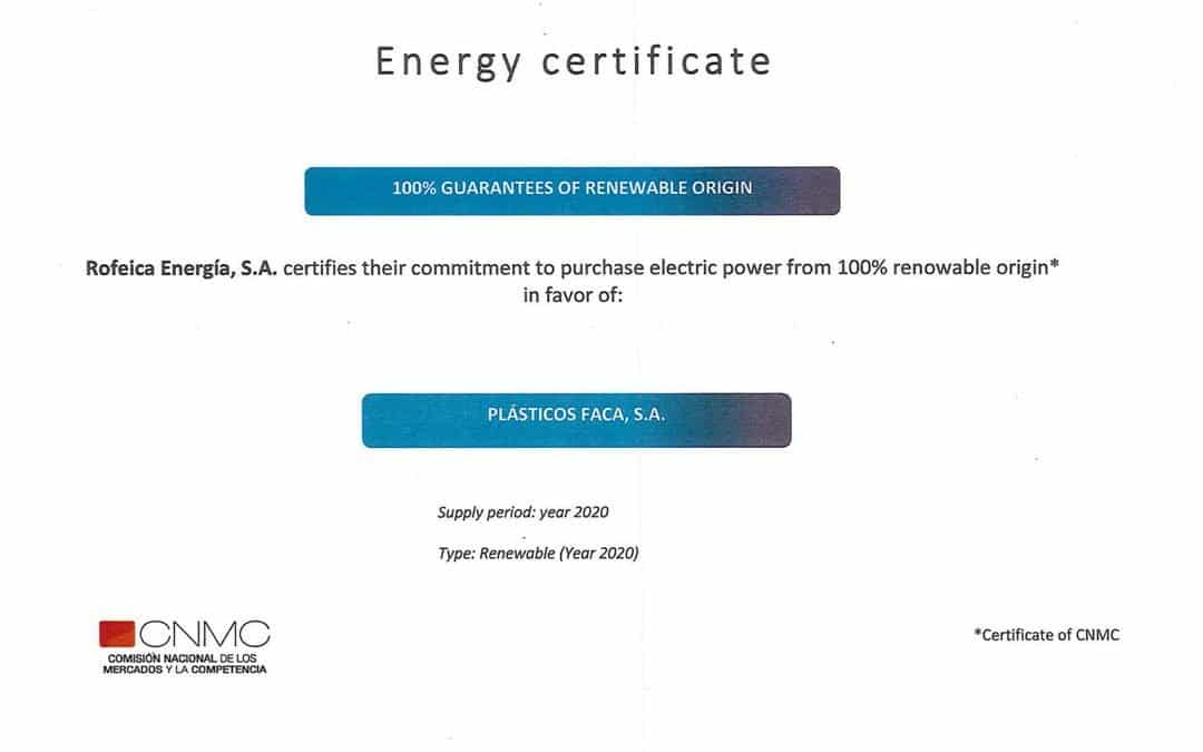 Certificate Electric Energy of 100% renewable origin
