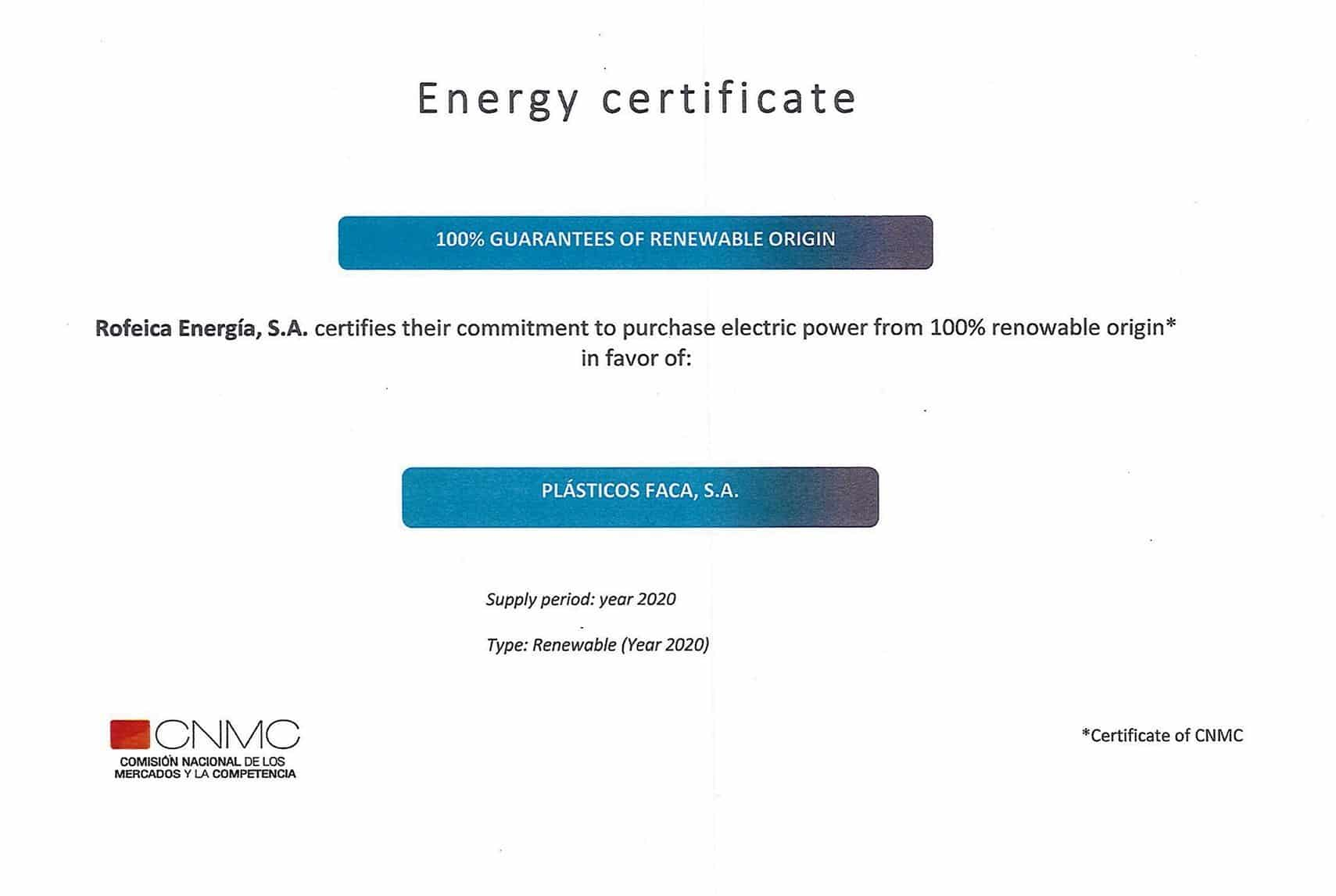 Certificate Energy