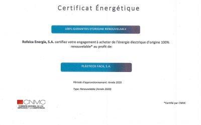 Certificat d'énergie électrique d'origine 100% renouvelable